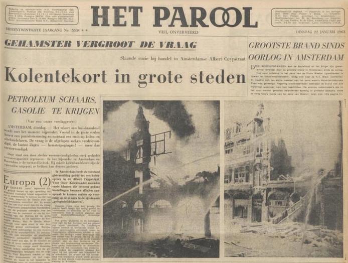 De voorpagina van Het Parool van 22 januari 1963.