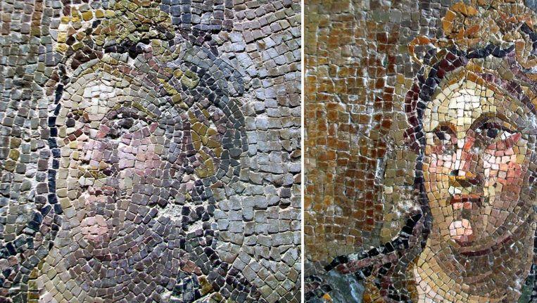 Op deze foto rechts de oude versie, links de gerestaureerde. Beeld afp