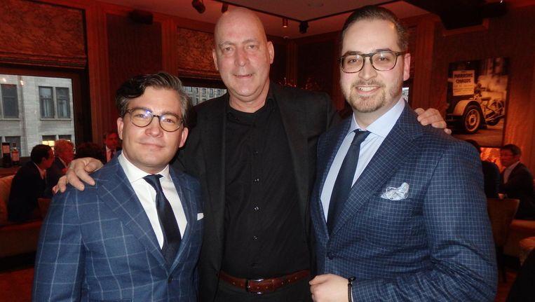Initiator François-Léon Van der Velden (Dutch Global Media), TwentySevendirecteur Eric Toren en Bram Kaplan, ambassadeur van hoofdsponsor Macallan's. Ze hopen op een nieuwe traditie. Beeld Schuim