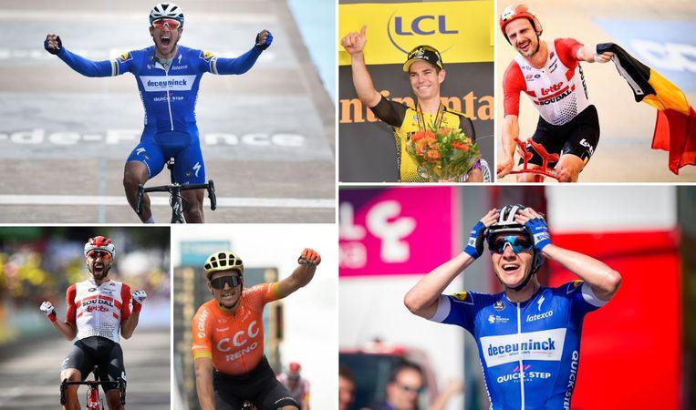 Gilbert, Van Aert, Campenaerts, De Gendt, Van Avermaet en Evenepoel.