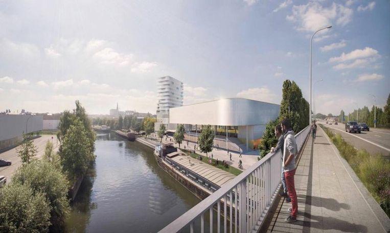 Zo zal de omgeving Tragel er in de toekomst uitzien. Rechts aan de Dender zie je de evenementenhal.
