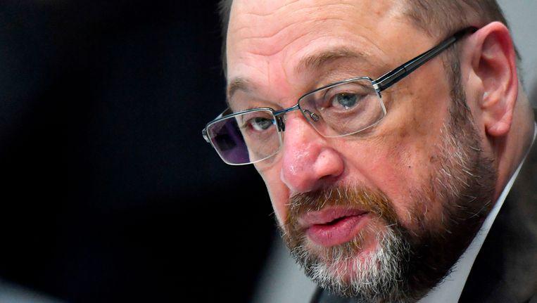 SPD-leider Martin Schulz in de Bondsdag, 22 januari 2018. Beeld null