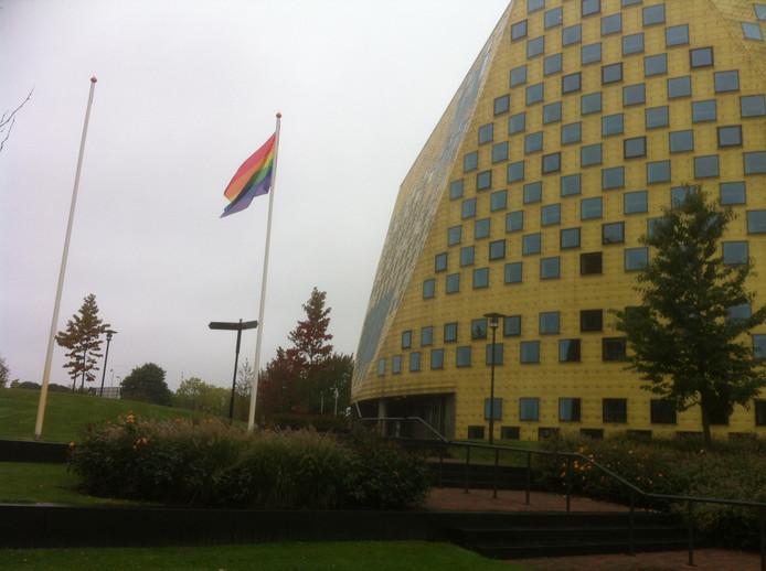 De regenboogvlag bij het gemeentehuis van Hardenberg. Foto: Cor van Dalen