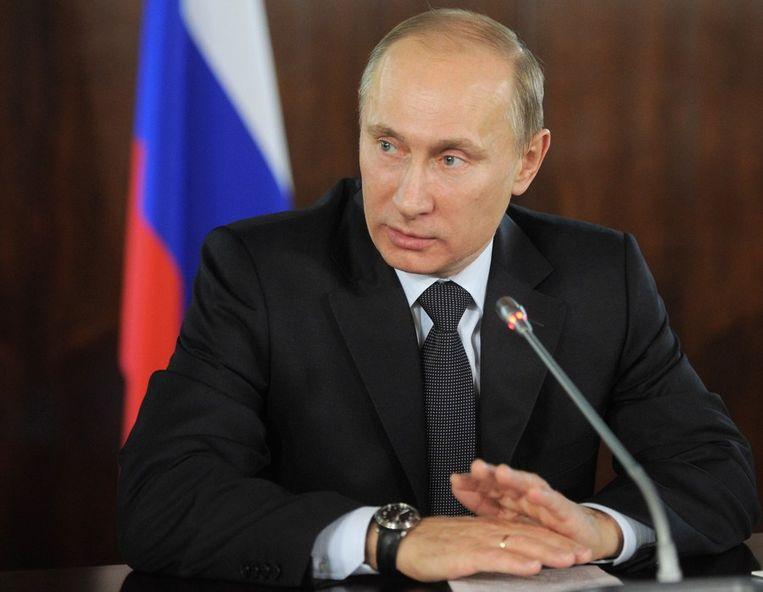 President Vladimir Poetin, vandaag tijdens een persconferentie. Beeld afp