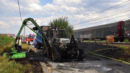 Treinverkeer stilgelegd wegens brand maaitractor
