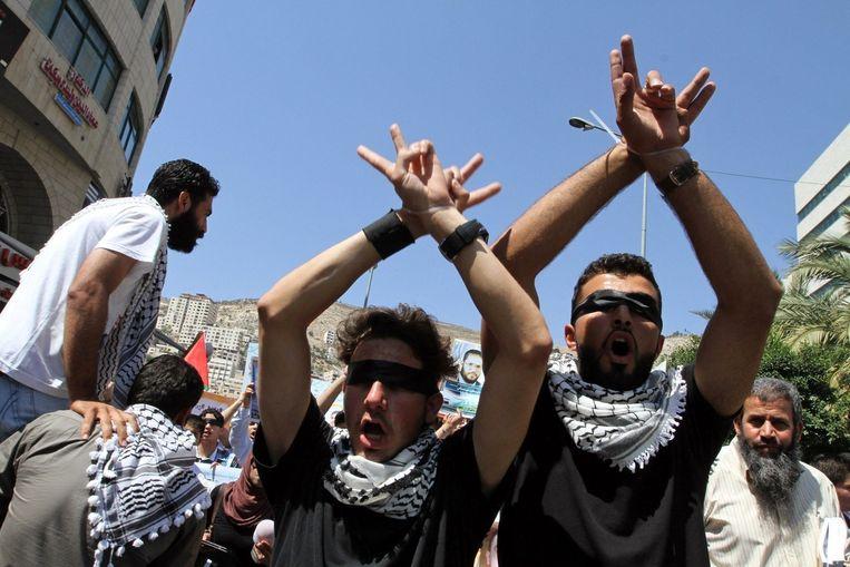 Palestijnen in Nablus demonstreren uit solidariteit met hongerstakers in Israëlische gevangenissen