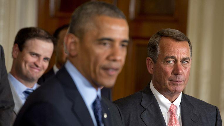De Amerikaanse president Barack Obama (L) en de Republikeinse voorzitter van het Huis van Afgevaardigden John Boehner. (Archieffoto) Beeld ap
