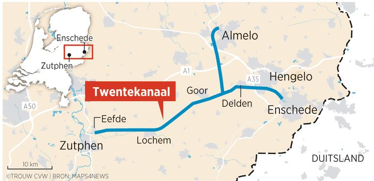 Het tracé van het Twentekanaal. Beeld Sander Soewargana