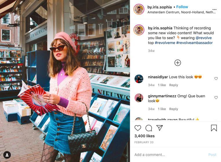 Iris Dijkers in roze outfit op Instagram. Beeld Instagram