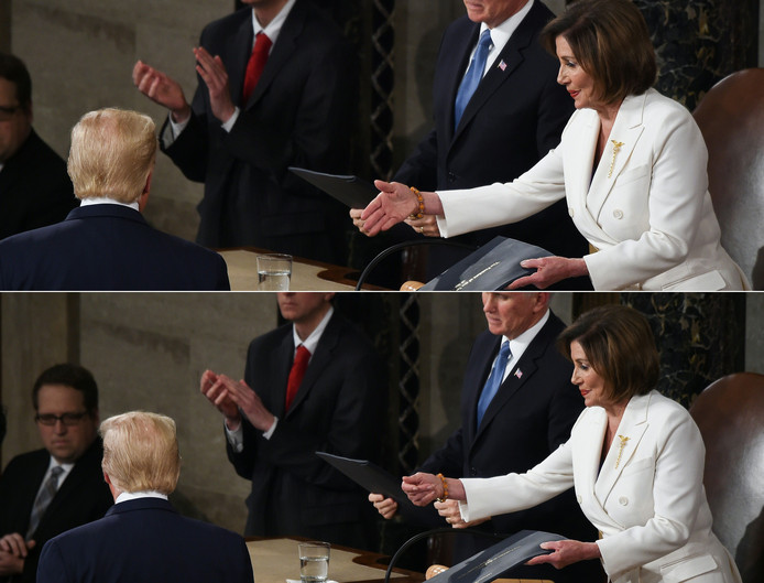 President Trump weigert Nancy Pelosi een hand te geven.