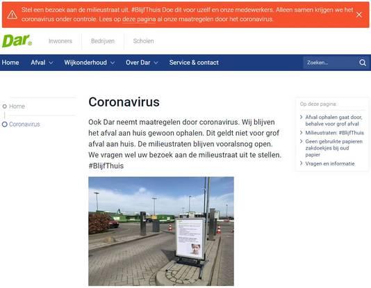 Ook op haar website roept Dar bezoekers op weg te blijven.
