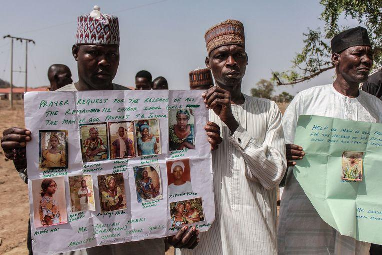 Ouders en nabestaanden van meisjes die ontvoerd werden door Boko Haram.