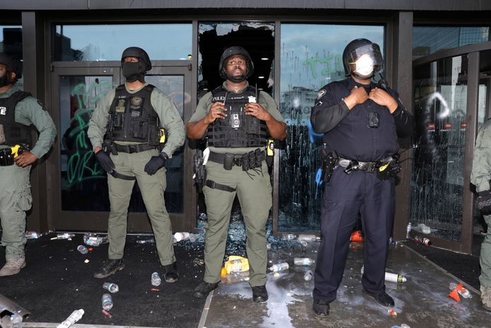 La police devant le siège de CNN.