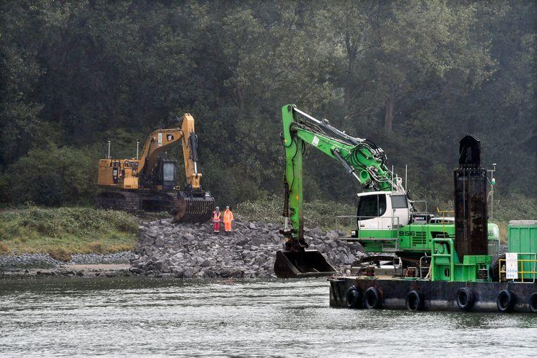 Bouw van de Maasdeltatunnel die de A20 bij Vlaardingen verbindt met de A15 bij Rozenburg en de Rotterdamse haven nog beter bereikbaar moet maken. Beeld Hollandse Hoogte
