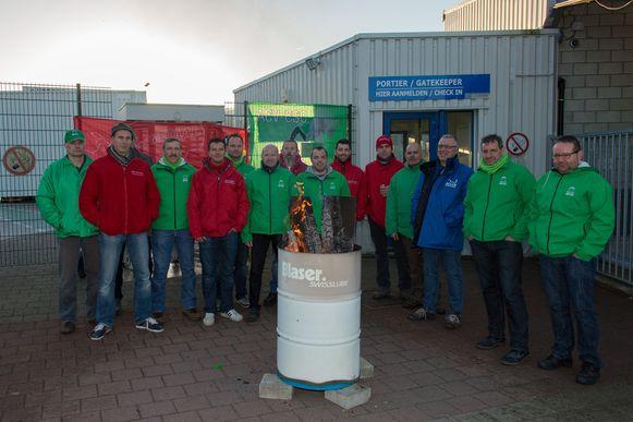 De stakerspost bij Hansen Industrial Transmission, een grote tandwielkastenfabriek in Edegem.