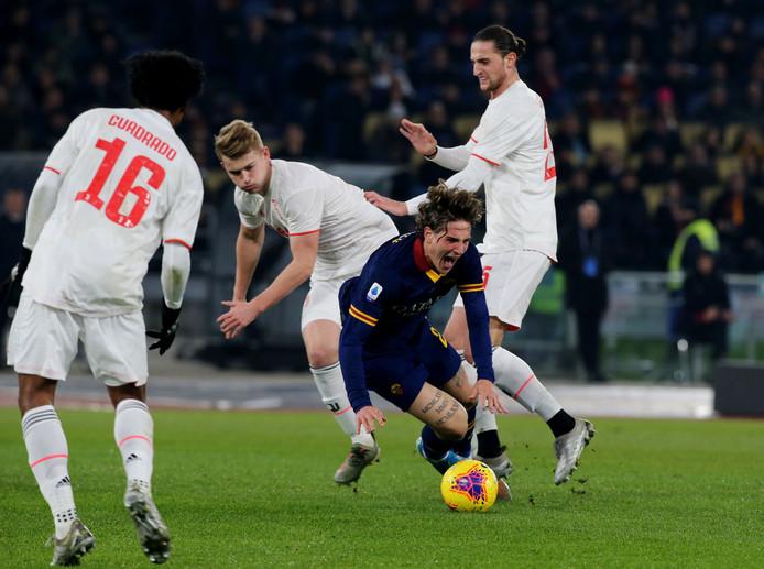 Matthijs de Ligt tijdens het duel met AS Roma.
