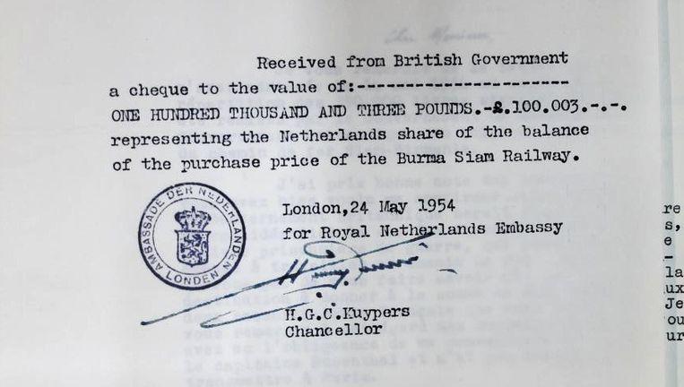 Kwitantie voor de cheque van ruim 100 duizend pond (1,6 miljoen gulden) die de Nederlandse overheid ontving van de Britse regering. Het document bevindt zich in de National Archives in Londen. Beeld