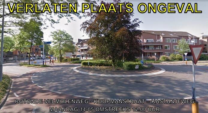 De scooter reed de voetganger aan op de rotonde van de Velmolenweg, Koopmanstraat en de Kastanjeweg.