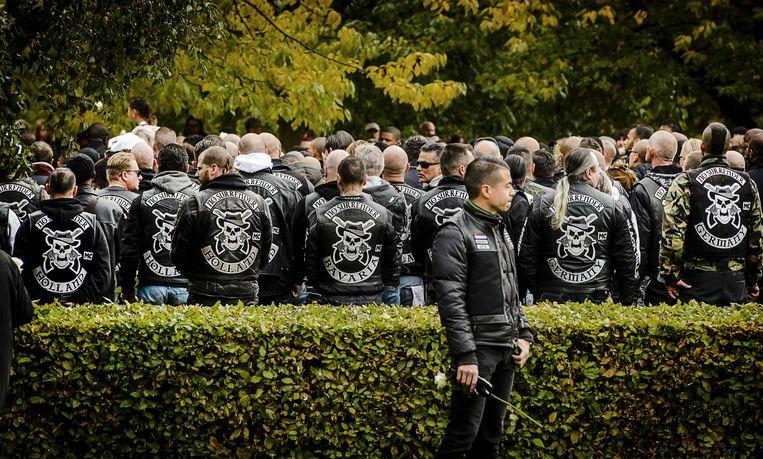 Leden van motorclub No Surrender tijdens de uitvaart van captain Brian Dalfour. Beeld ANP