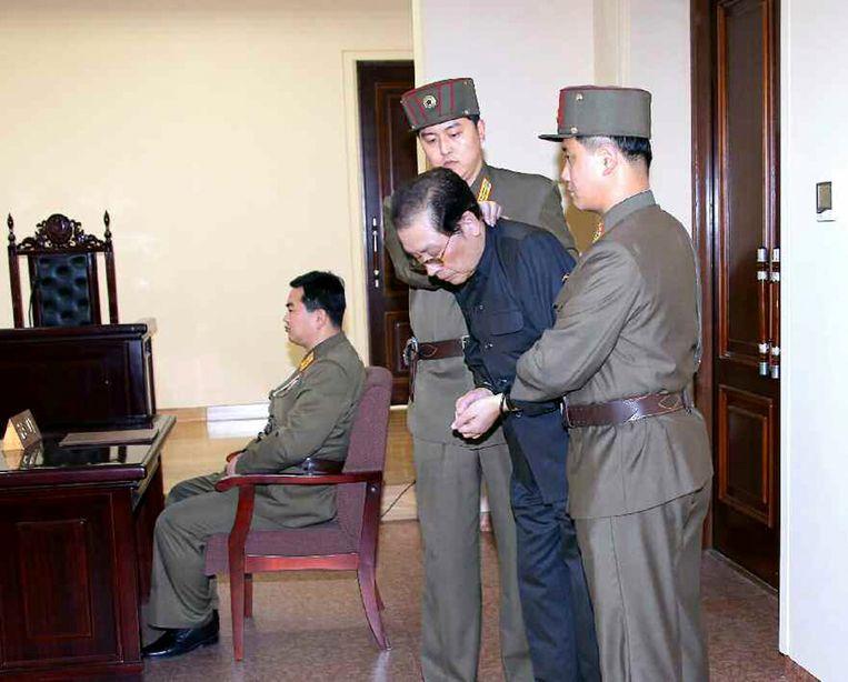Jang Song-thaek in een Noord-Koreaanse rechtbank in december 2013, enkele dagen voor zijn executie.