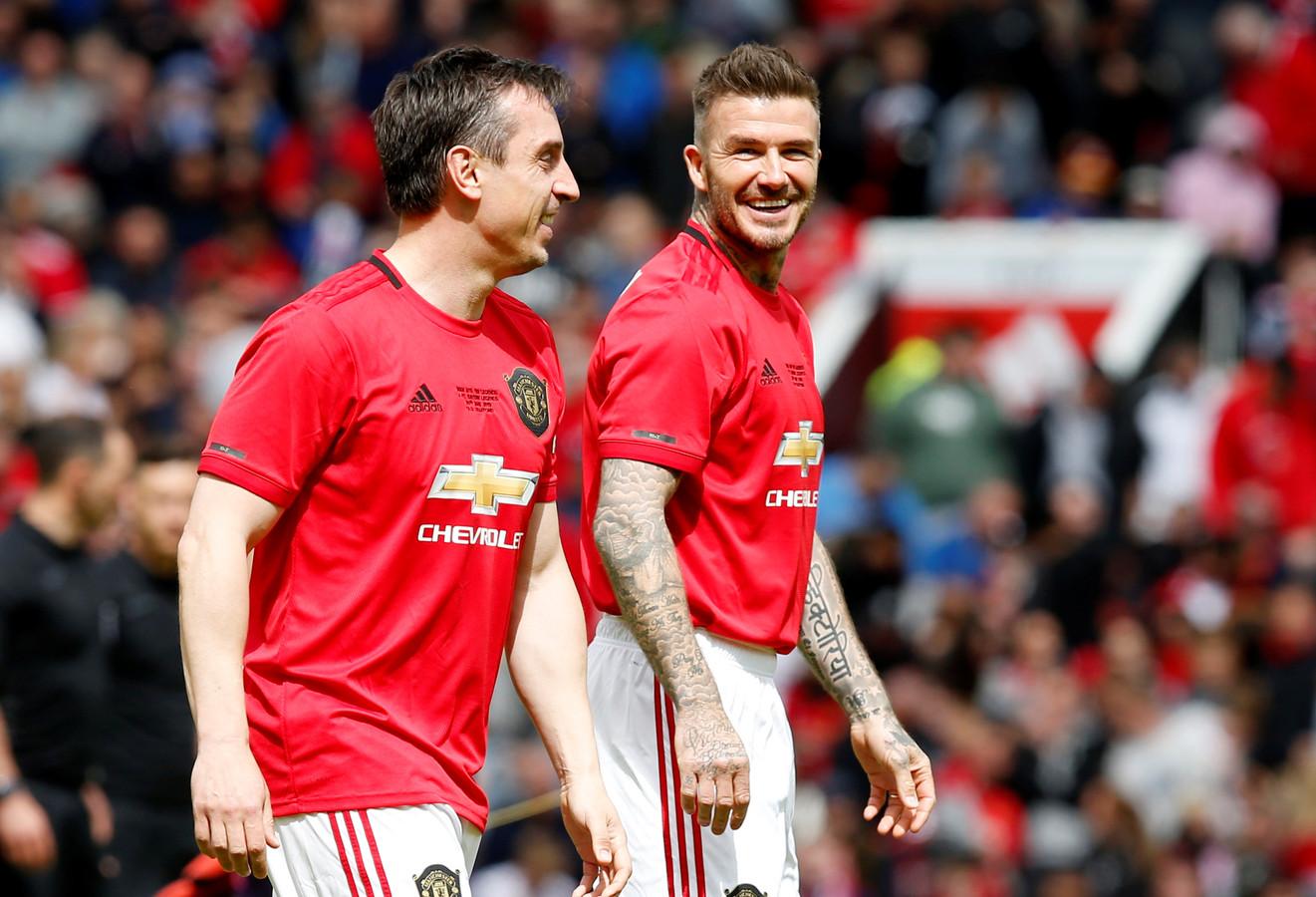 Gary Neville (l) en David Beckham.
