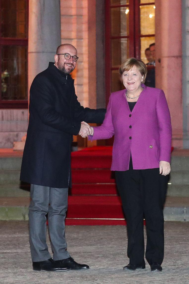 Premier Charles Michel ontvangt de Duitse Bondskanselier Angela Merkel op Hertoginnedal.