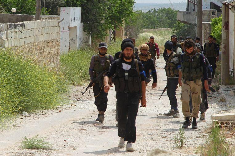 Syrische rebellen nabij Idlib. Beeld reuters