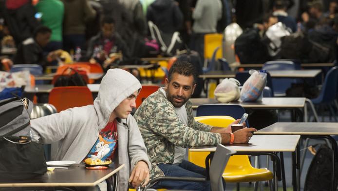 Vluchtelingen in de Jaarbeurs Utrecht.