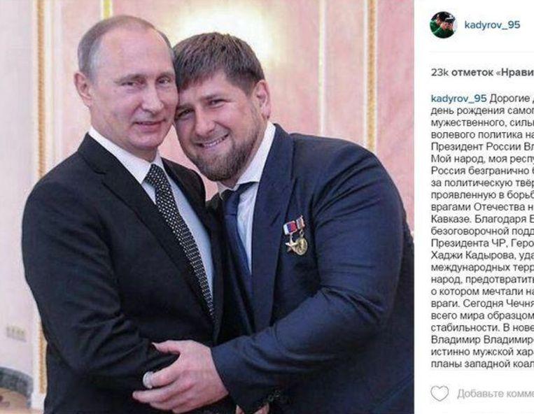 Kadyrov en Poetin op een foto op Instagram. Beeld