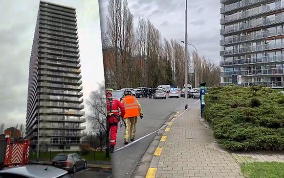 In Gent dreigt de glazen afsluiting van een appartementsgebouw van 25 verdiepingen aan het Spinmolenplein los te komen.