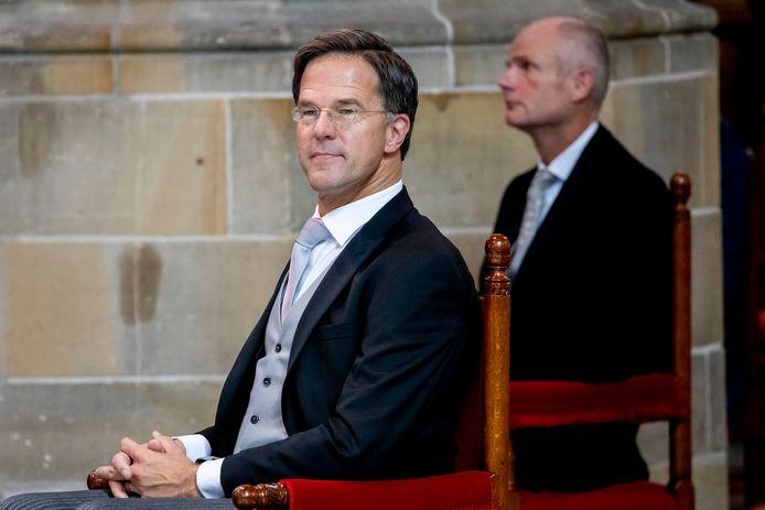 Minister President Mark Rutte tijdens Prinsjesdag in de Grote Kerk.