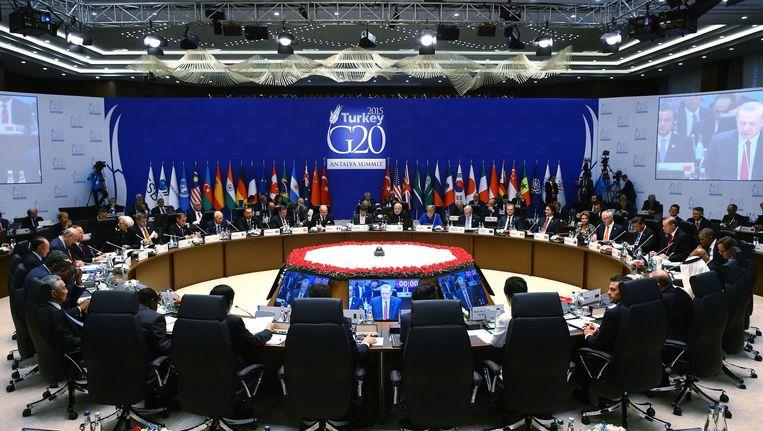 De leiders van de G20-landen bij elkaar in het Turkse Antalya Beeld anp