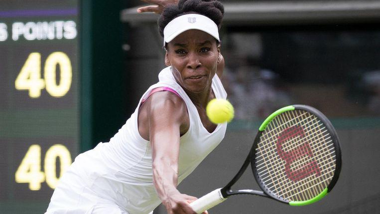 Venus Williams was geen moment zichzelf in de wedstrijd tegen Elise Mertens. Ze won in twee sets (7-6, 6-4). Beeld Benoit Doppagne/Belga