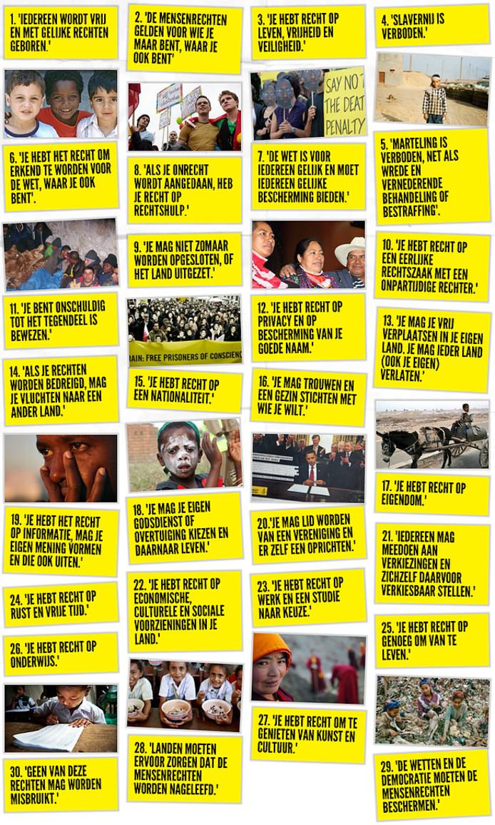 De 30 mensenrechten uit de Universele Verklaring van de Rechten van de Mens.