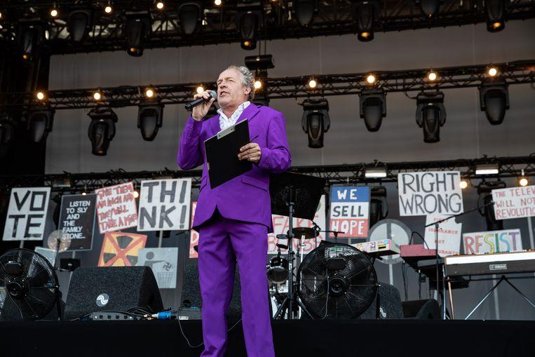 De Groningse cabaretier Bert Visscher vorig jaar tijdens het festival Stadspark Live. Beeld ANP