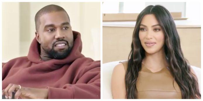 Kanye West kijkt verbaasd op dat Kim Kardashian nog nooit in het zwembad gezwommen heeft.