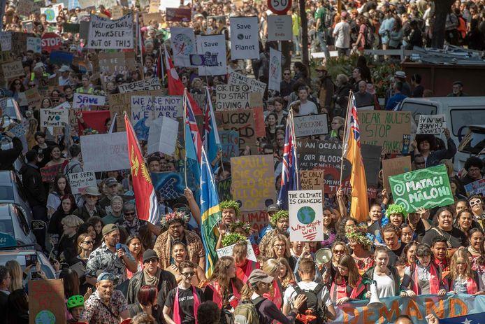 Klimaatmars in Wellington. In verschillende steden in Nieuw-Zeeland, waar de wereldwijde klimaatmars van start ging, was de opkomst groot.