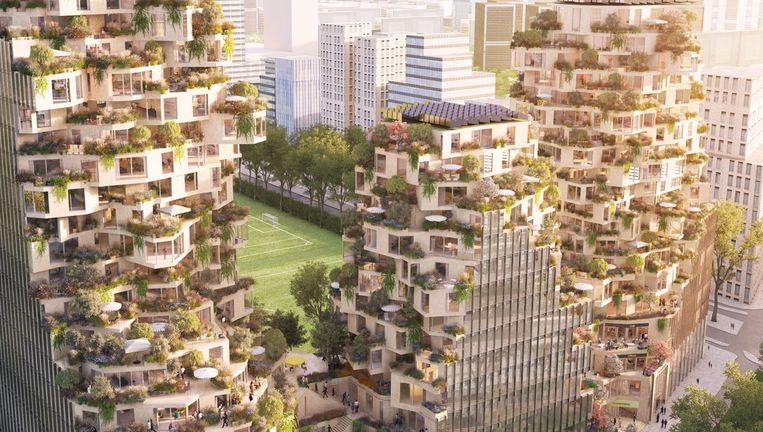 Een impressie van het appartementendeel van 'Ravel Plaza', dat aan de Beethovenstraat wordt gebouwd. Op de achtergrond de sportvelden van AFC. Beeld MVRDV Architecten