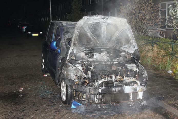 Aan de Troelstrastraat in Culemborg vloog een auto in brand.