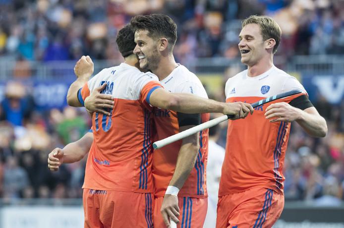 Valentin Verga, Robbert Kemperman en Mirco Pruyser namens Nederland tijdens het EK 2017.