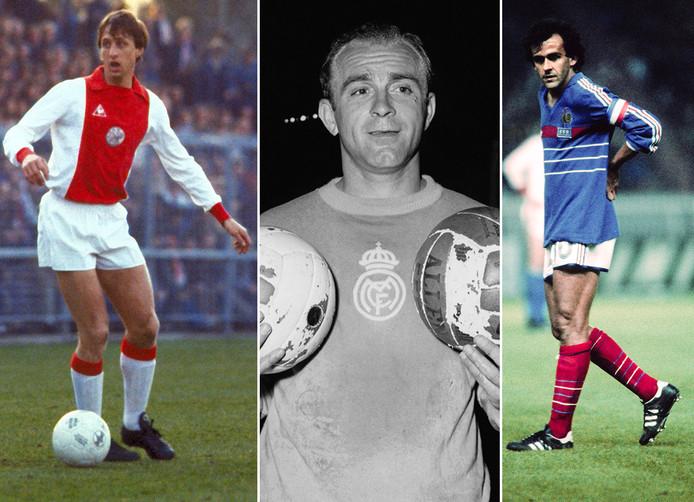 Voormalige winnaars van de Gouden Bal, vlnr: Johan Cruijff, Alfredo di Stéfano en Michel Platini.