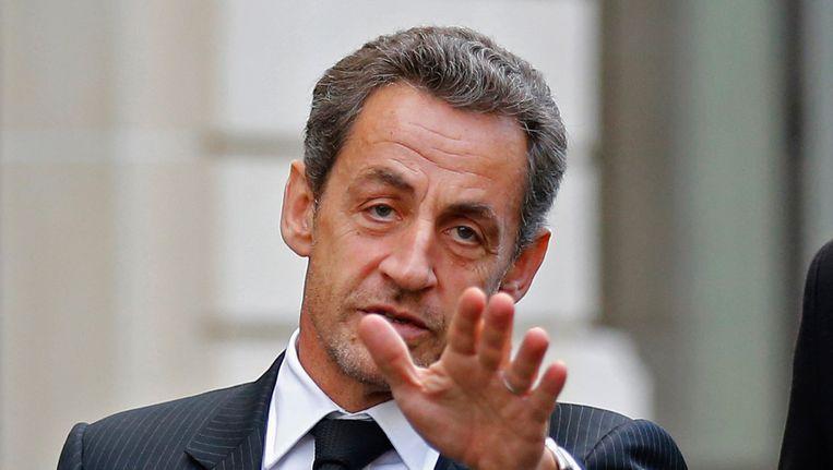 Oud-president Nicolas Sarkozy sprak vandaag over de partijcrisis met oud-premier Francois Fillon. Beeld REUTERS