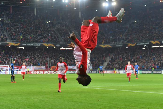 Patson Daka van Red Bull Salzburg na één van zijn twee goals tegen Club Brugge.