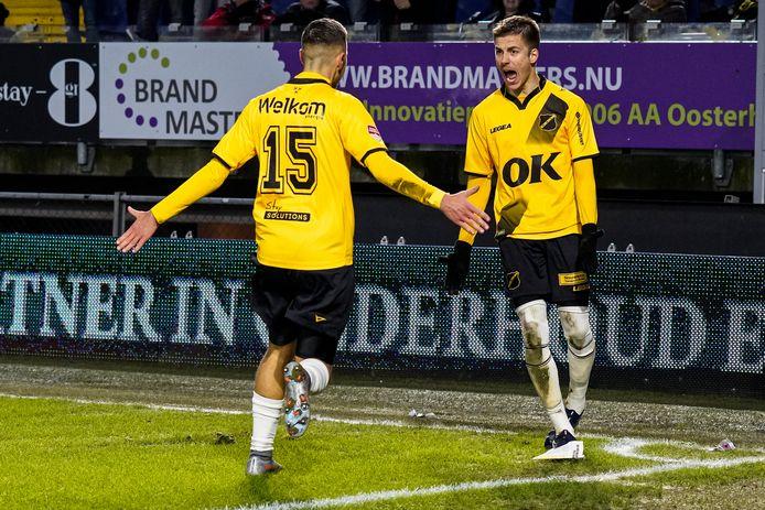 Filipovic en Luka Ilic vieren de 2-0 van NAC.