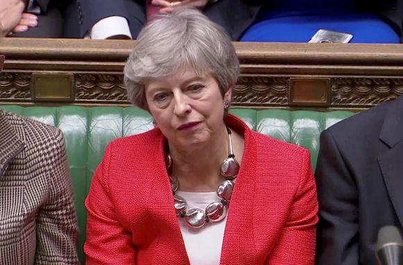 Theresa May na haar tweede nederlaag in het Lagerhuis gisteravond.