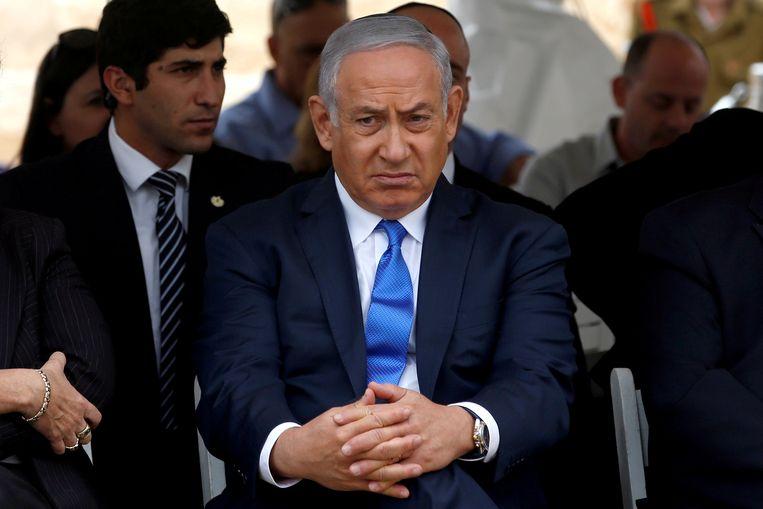 De Israëlische premier Netanyahu bij een herdenking bij het graf van David Ben Gurion, de eerste premier van Israël, in november.  Beeld REUTERS