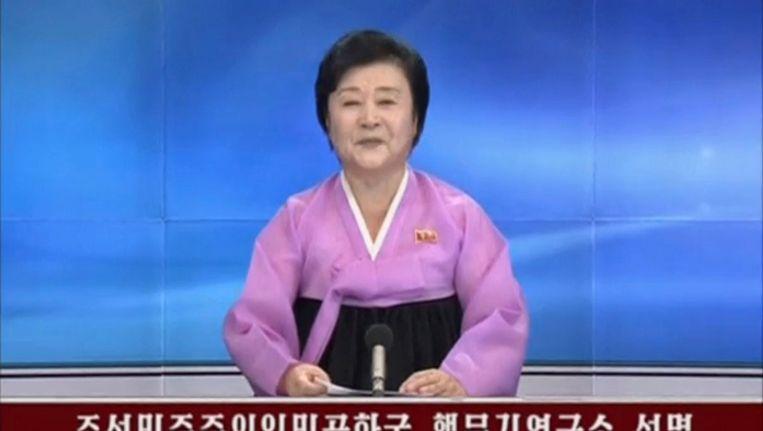 Noord-Korea bevestigt op de staatstelevisie dat het land zijn vijfde en meteen ook grootste nucleaire test heeft uitgevoerd. Beeld reuters