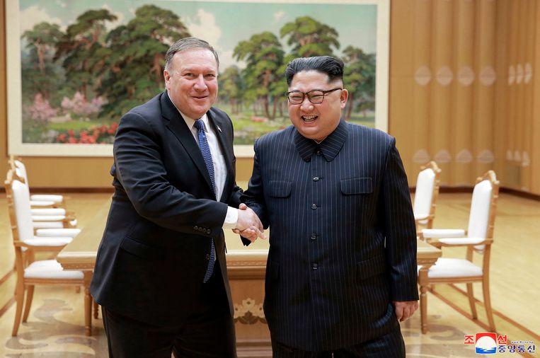 Mike Pompeo met Kim Jong-un in hoofdstad Pyongyang.