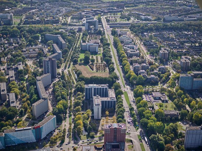 Een luchtfoto van de Entree waar de nieuwe wijk moet verrijzen.