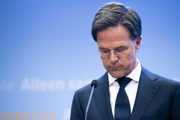 Prime Minister Rutte during a press conference about the corona virus.